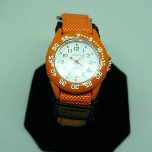 Orange sport watch on velcro band